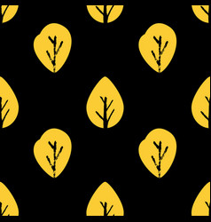 seamless foliage pattern golden leaf on black vector image