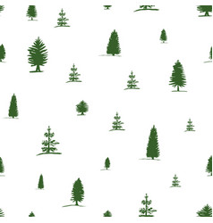 Seamless pattern from sketch green tree pine fir vector