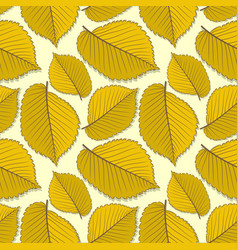 Seamless pattern with elm autumn leaves vector