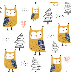 seamless pattern with owls and trees creative vector image