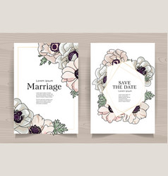 Set card with hand drawn anemones leaves vector