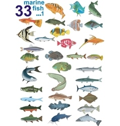 Set - marine fishes vector image