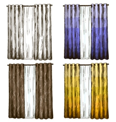 set of curtains drawings sketch style vector image