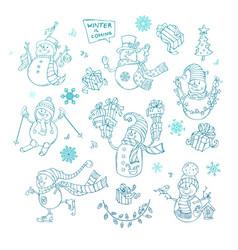 set of cute doodles snowmen vector image