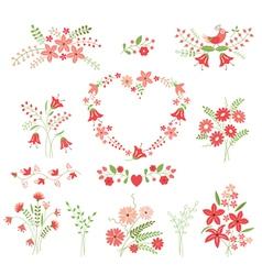 Set of flower design elements vector image