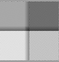 set of four seamless wavy gray pattern vector image