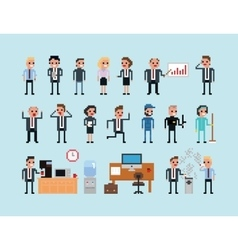 Set of pixel art people icons office work vector