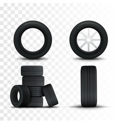 set of tires and car wheels template vector image