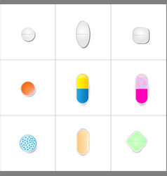 Set pills different colored objects on a white vector