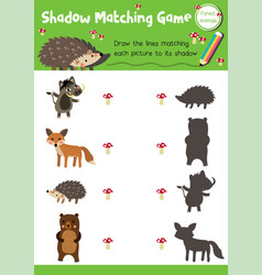 Shadow matching game forest animal vector