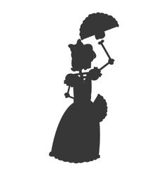 Skeleton woman dancing icon silhouette vector