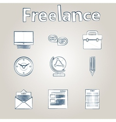 Sketch icons for freelance and business vector