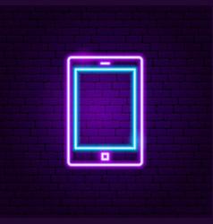 tablet gadget neon label vector image