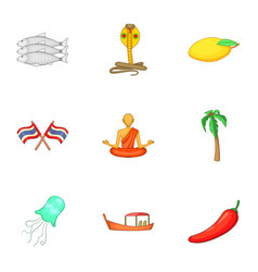 Thailand culture icons set cartoon style vector