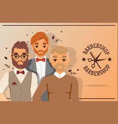 Three hipster barber men with beard and barbershop vector