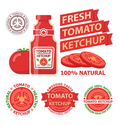tomato ketchup badge emblems vector image