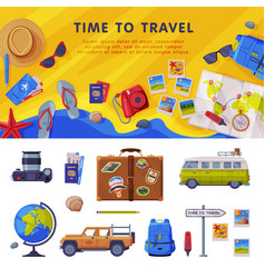 Travel time background with tourism attribute like vector