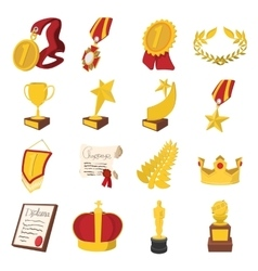Trophy and awards cartoon icons set vector image