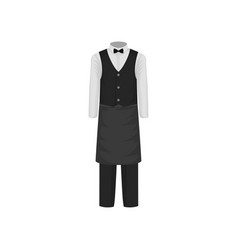 Uniform of waiter shirt with bow-tie vest pants vector