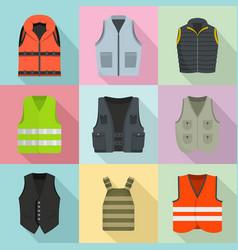 Vest waistcoat jacket suit icons set flat style vector