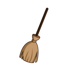 witch broom icon cartoon style vector image