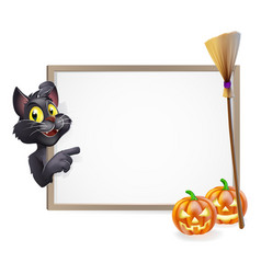 Witch cat halloween sign vector