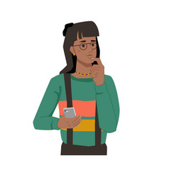 Woman with smartphone in hands thoughtful face vector