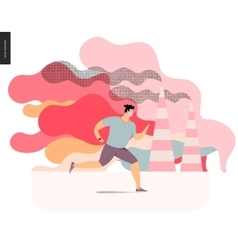 Young man running in smog vector