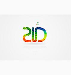 Zd z d rainbow colored alphabet letter logo vector