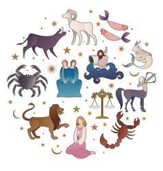 zodiac signs collections medieval style on starry vector image