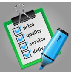 Blue felt tip pen and green checklist vector