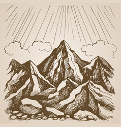 mountains and rocks against the sky with clouds vector image vector image