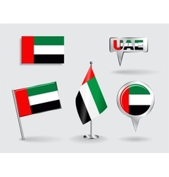 Set of United Arab Emirates pin icon and map vector image vector image