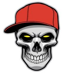 skull head wearing a hat vector image vector image