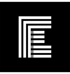 Capital letter E Made of three white stripes vector image