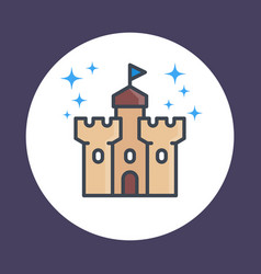 castle fortress icon in linear style vector image