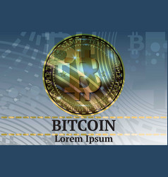 digital realistic bitcoin cryptocurrency vector image