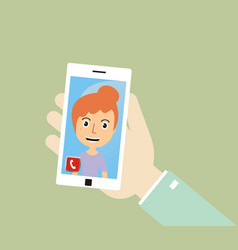 hand holding smart phone and make a video call vector image vector image