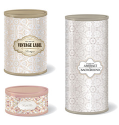 metal can set blank tincan collection with vector image vector image