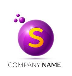 S letter splash purple dots and circle bubble vector