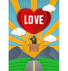 Happy Valentines Day couple flying on balloon vector image