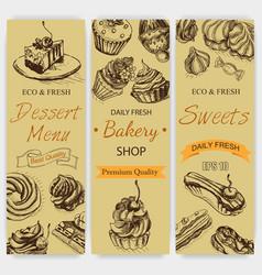 sketch bakery vintag card vector image
