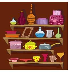 drawing utensils on the shelves vector image