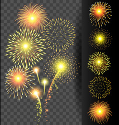Golden firework set on translucent background for vector image vector image