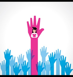 Graduate girl in male crowd vector image