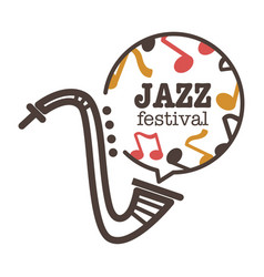 jazz festival promotional banner with saxophone vector image