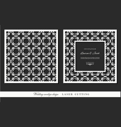 laser cutting frame and ornamental panel set vector image vector image