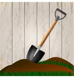 Shovel in the ground Gardening tool vector image vector image