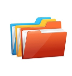 Three folders with paper vector image