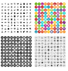 100 telephone operator icons set variant vector